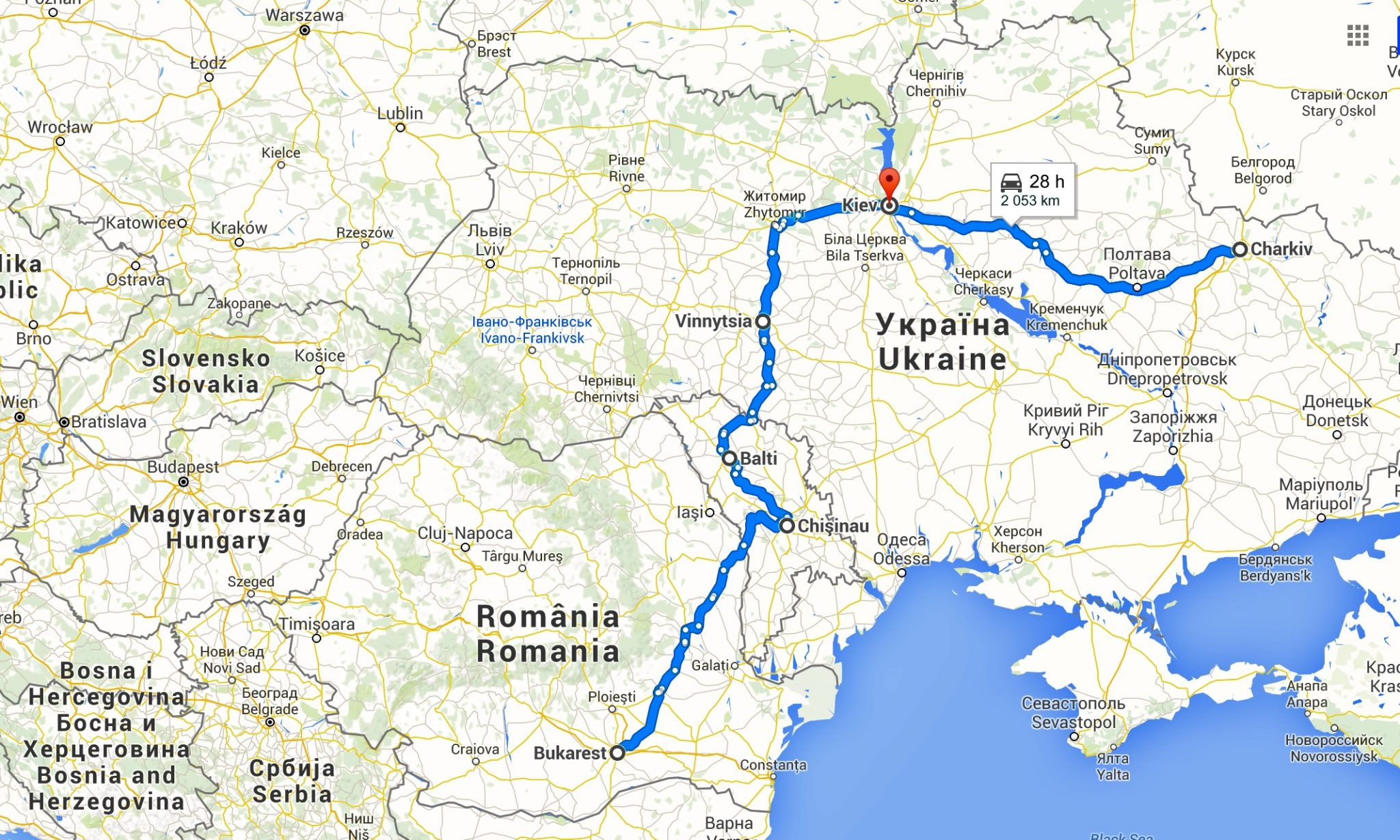 Map Ukraine Romania Moldova trip